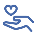 ikona wyciągnięta dłoń nad nią serce